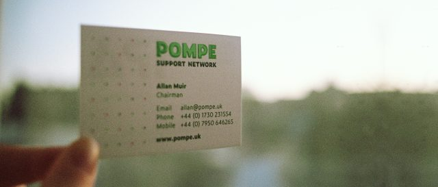 Pompe Support Network - Visual Identity, Logo, Website, Colour palette, Flyer, Newsletter